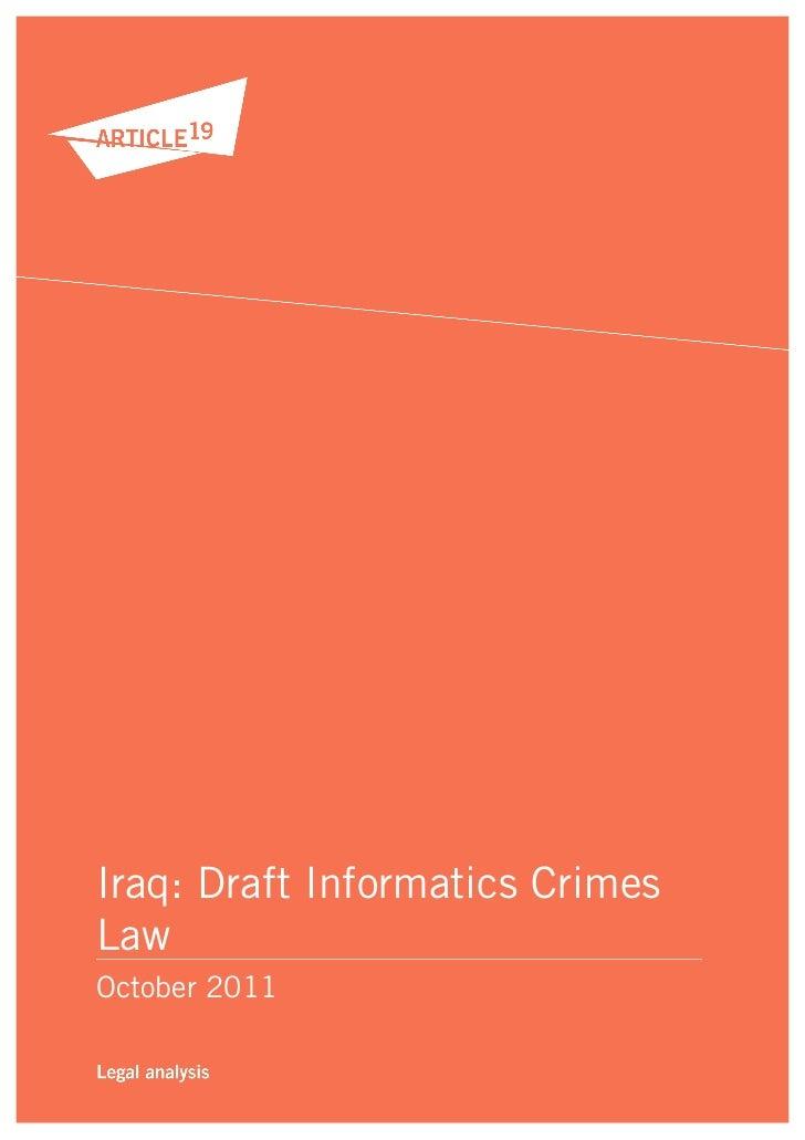 Iraq: Draft Informatics CrimesLawOctober 2011
