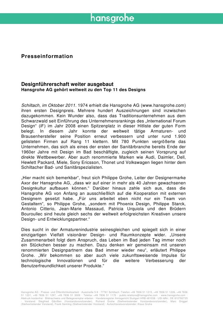 PresseinformationDesignführerschaft weiter ausgebautHansgrohe AG gehört weltweit zu den Top 11 des DesignsSchiltach, im Ok...