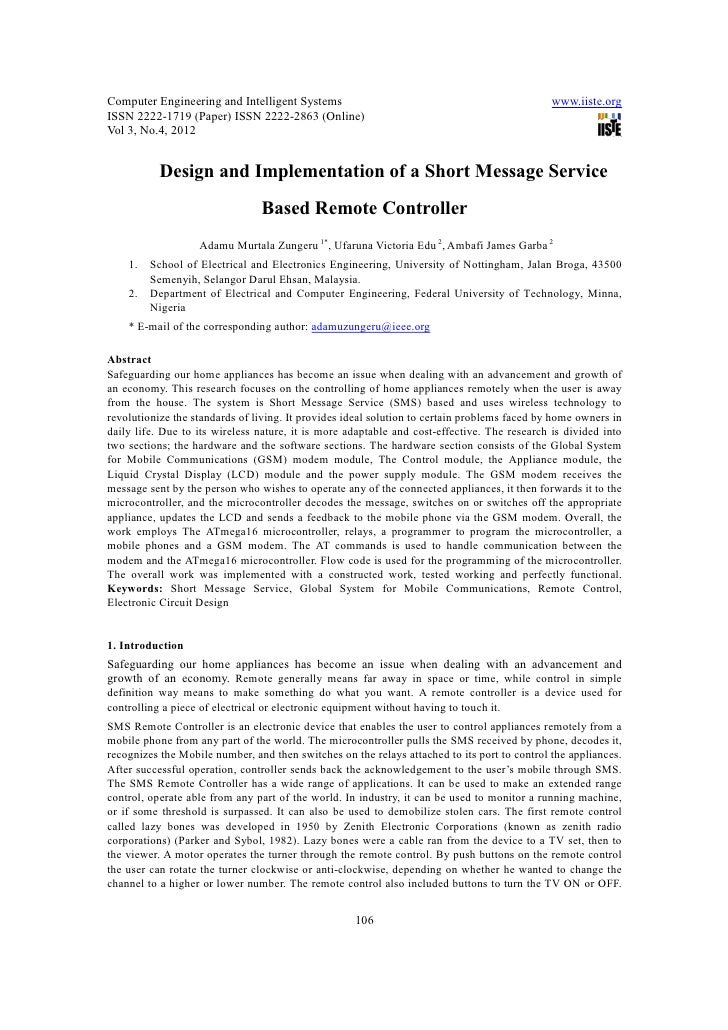 11.[106 118]design and implementation of a short message service based remote controller