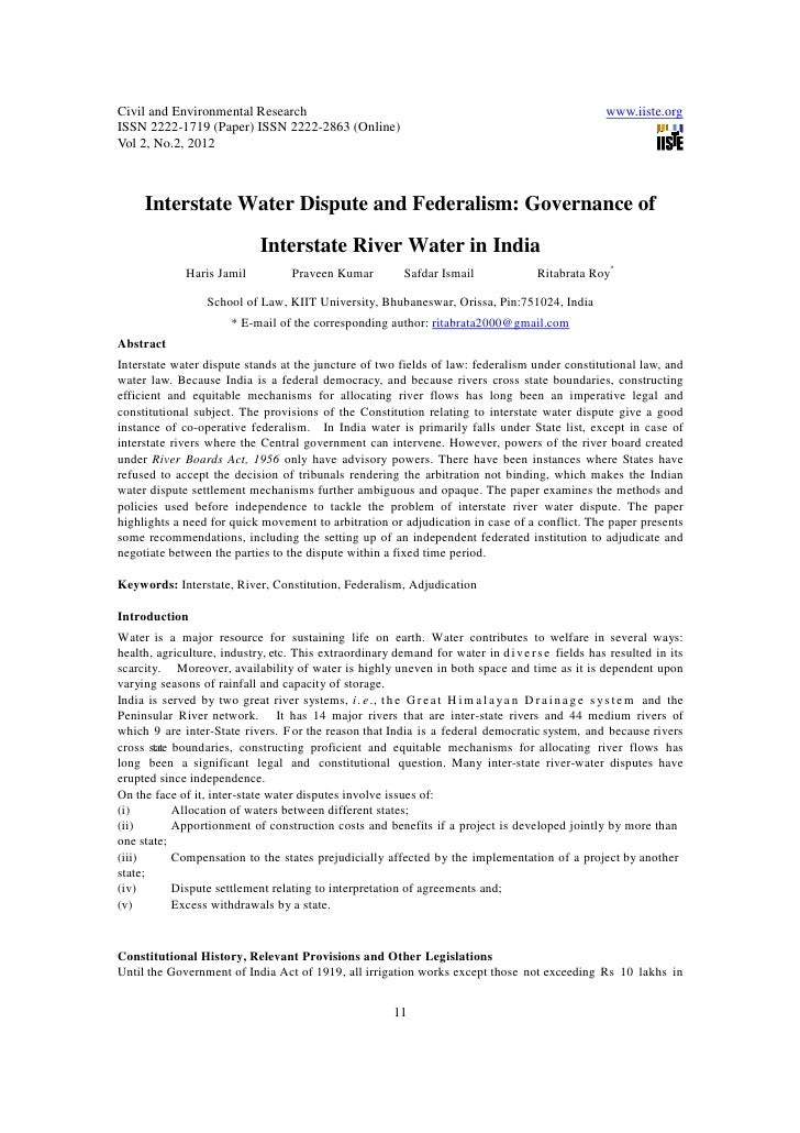 11.[11 16]interstate water dispute and federalism governance of interstate river water in india