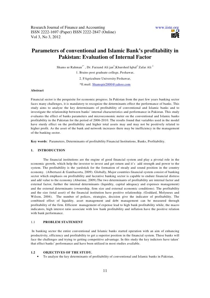 islamic banking in pakistan research papers Purpose the aim of this study is to examine the perceptions of consumers on islamic banking and finance in pakistan islamic finance is an emerging phenomenon, and its survival depends on the availability, affordability and awareness.