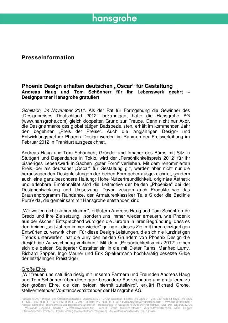 """PresseinformationPhoenix Design erhalten deutschen """"Oscar"""" für GestaltungAndreas Haug und Tom Schönherr                   ..."""