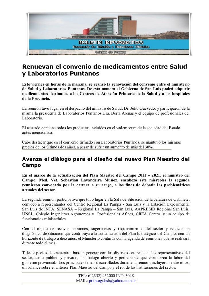 Renuevan el convenio de medicamentos entre Saludy Laboratorios PuntanosEste viernes en horas de la mañana, se realizó la r...