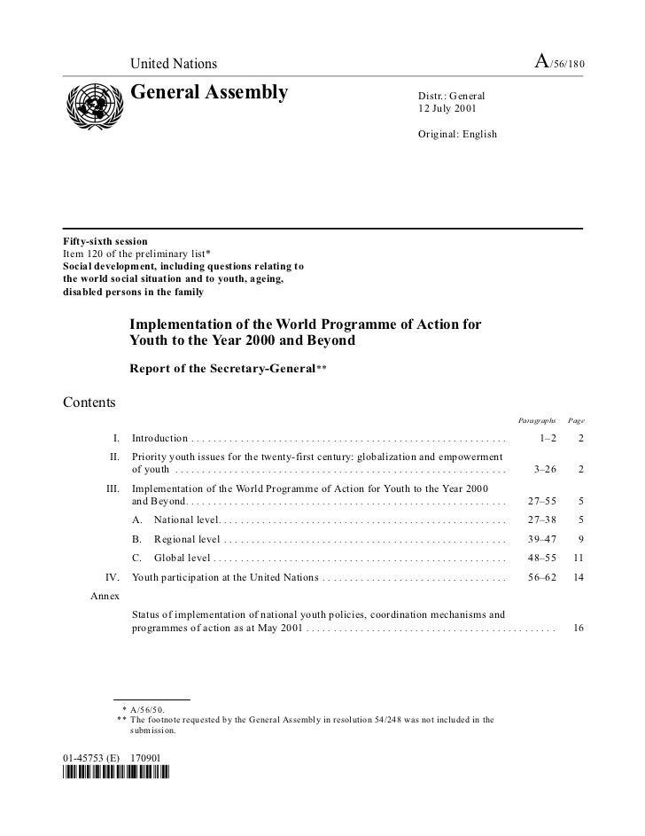 2001 - Implementation of the World Programme of Action for Youth to the Year 2000 and Beyond (A/56/180)