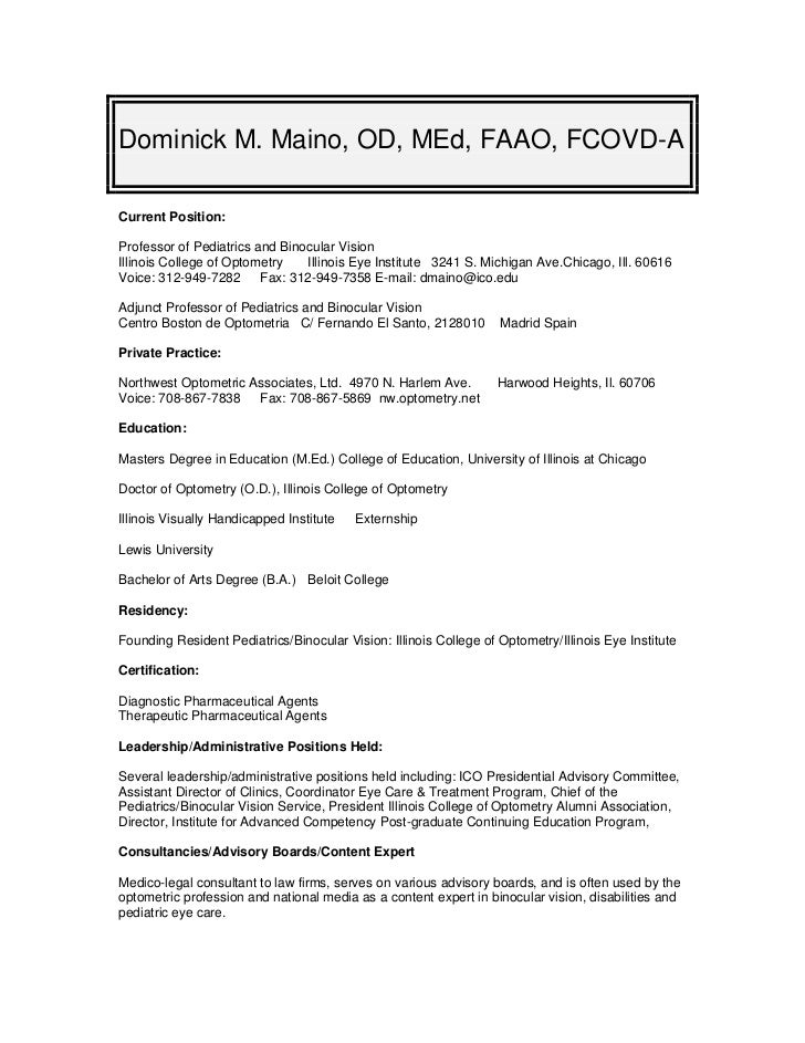 Optometrist resume examples cvresume for dr dominick maino