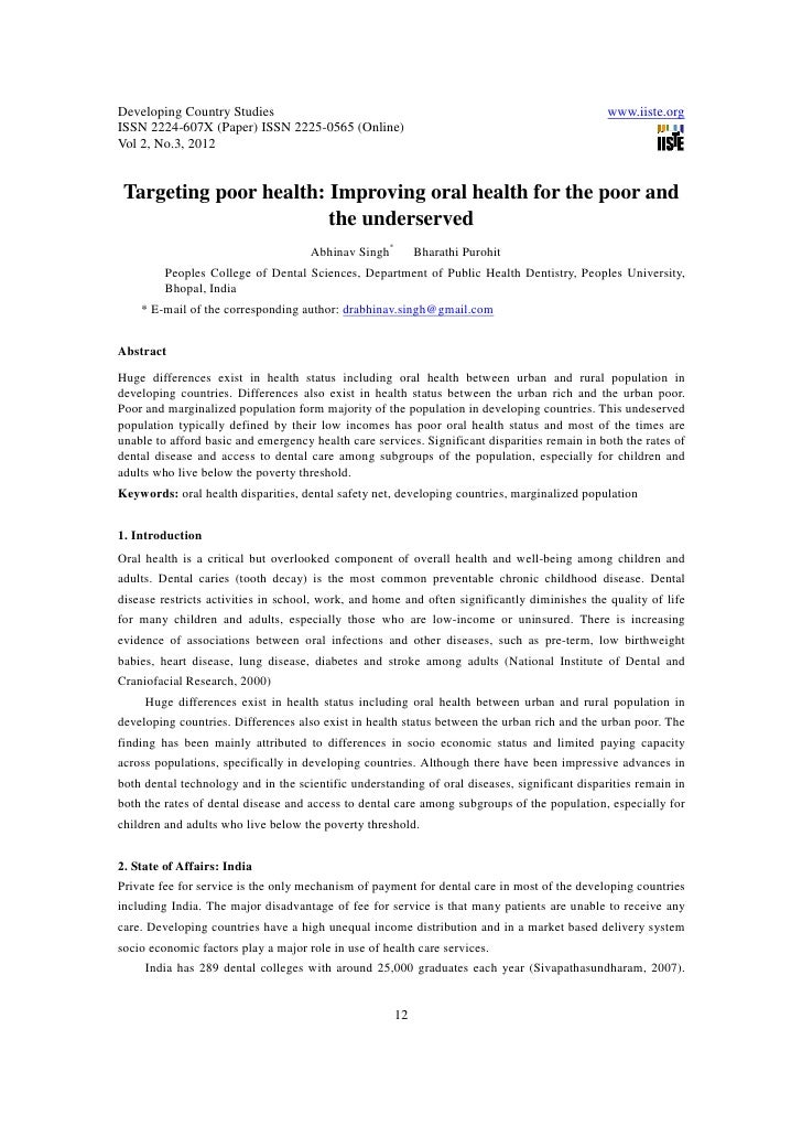 11.[12 18]targeting poor health improving oral health for the poor and the underserved