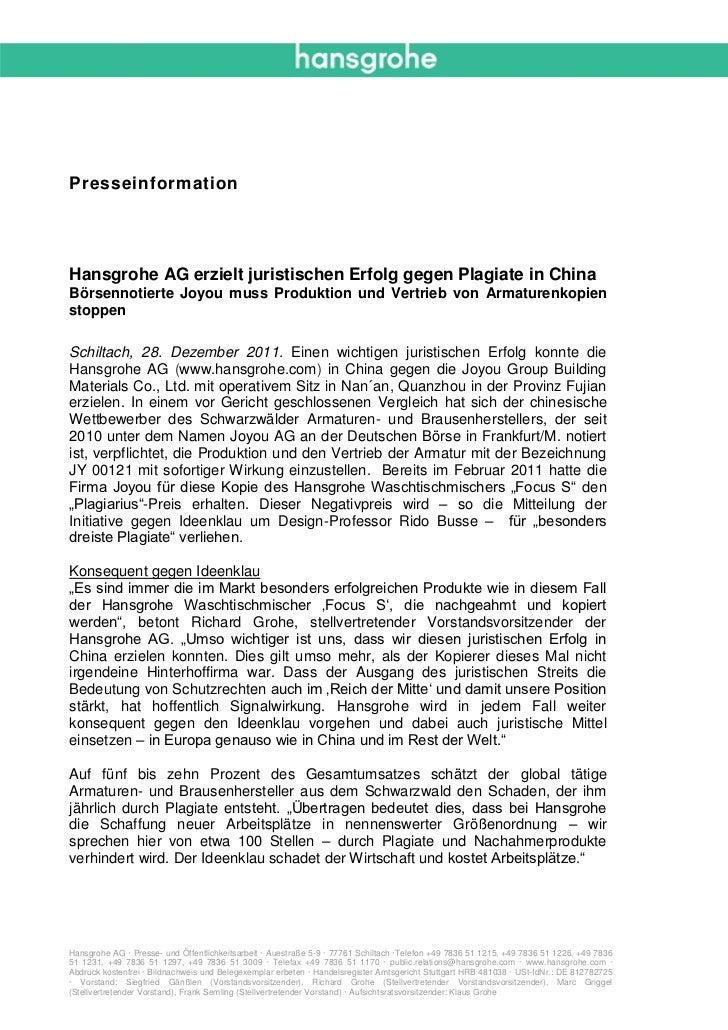 PresseinformationHansgrohe AG erzielt juristischen Erfolg gegen Plagiate in ChinaBörsennotierte Joyou muss Produktion und ...