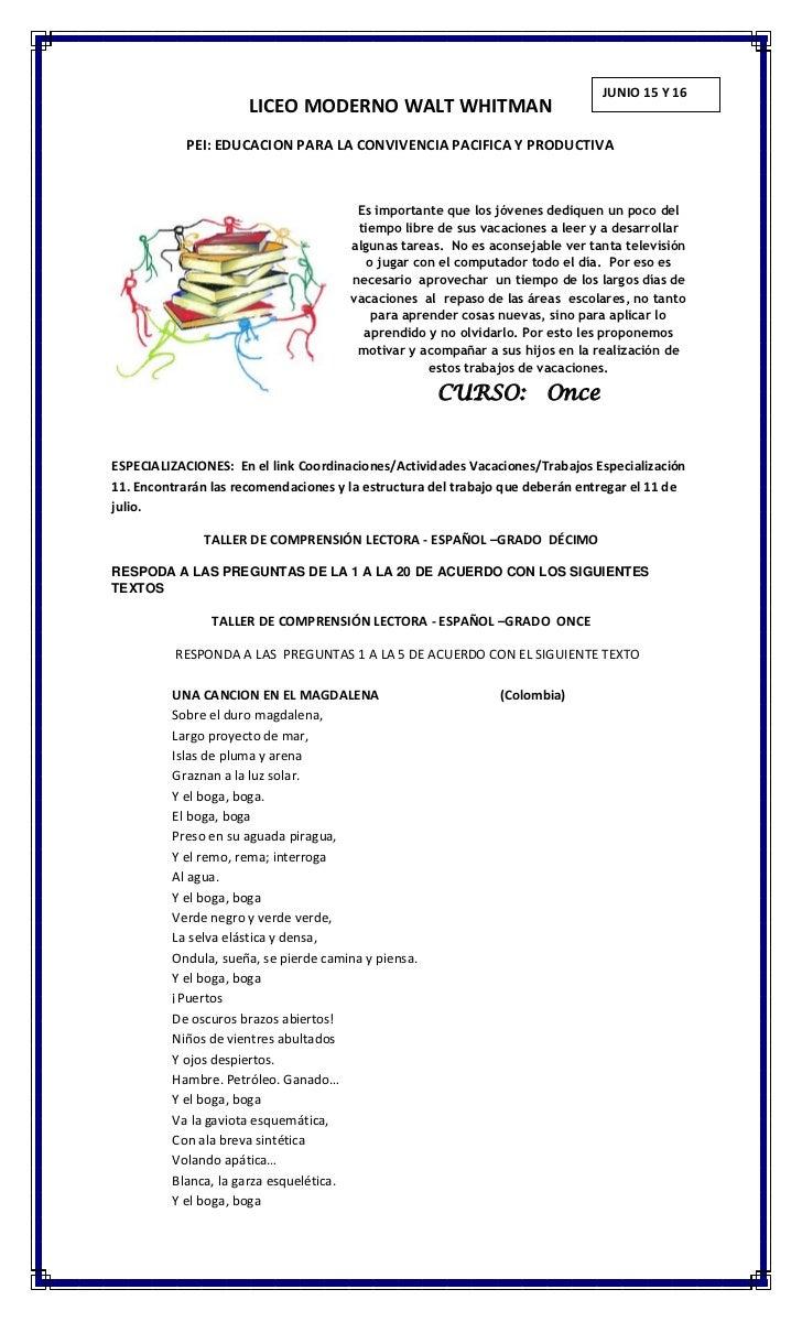 JUNIO 15 Y 16                      LICEO MODERNO WALT WHITMAN            PEI: EDUCACION PARA LA CONVIVENCIA PACIFICA Y PRO...