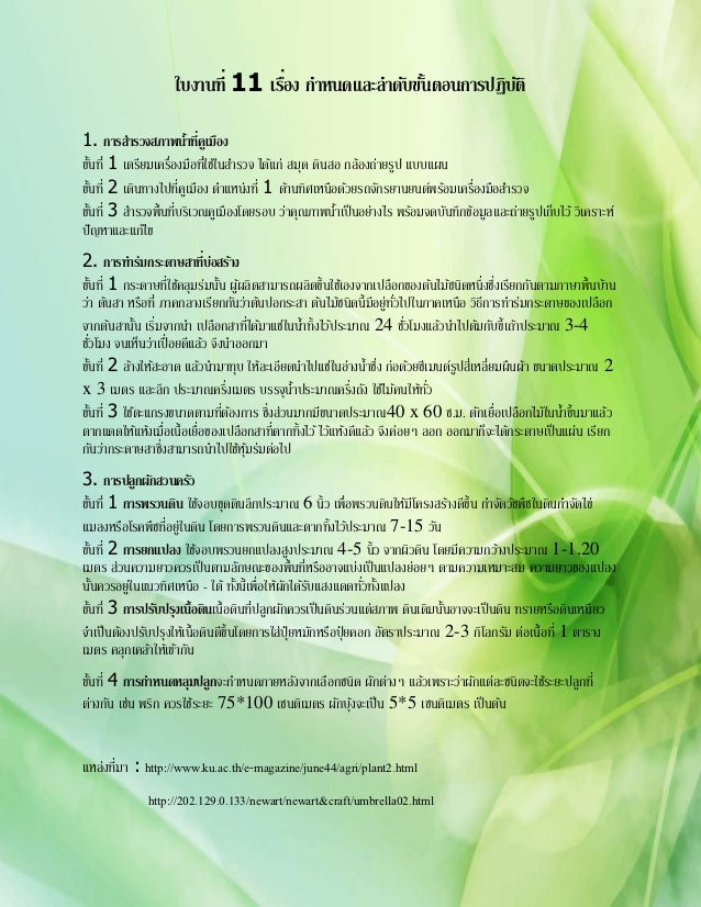 ใบงานที่ 11 เรือง กาหนดและลาดับขันตอนการปฏิบติ                                   ่                 ้          ั1. การสารวจ...