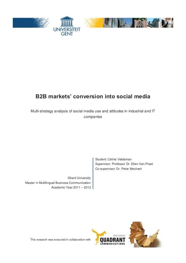 B2B Markets' conversion into social media