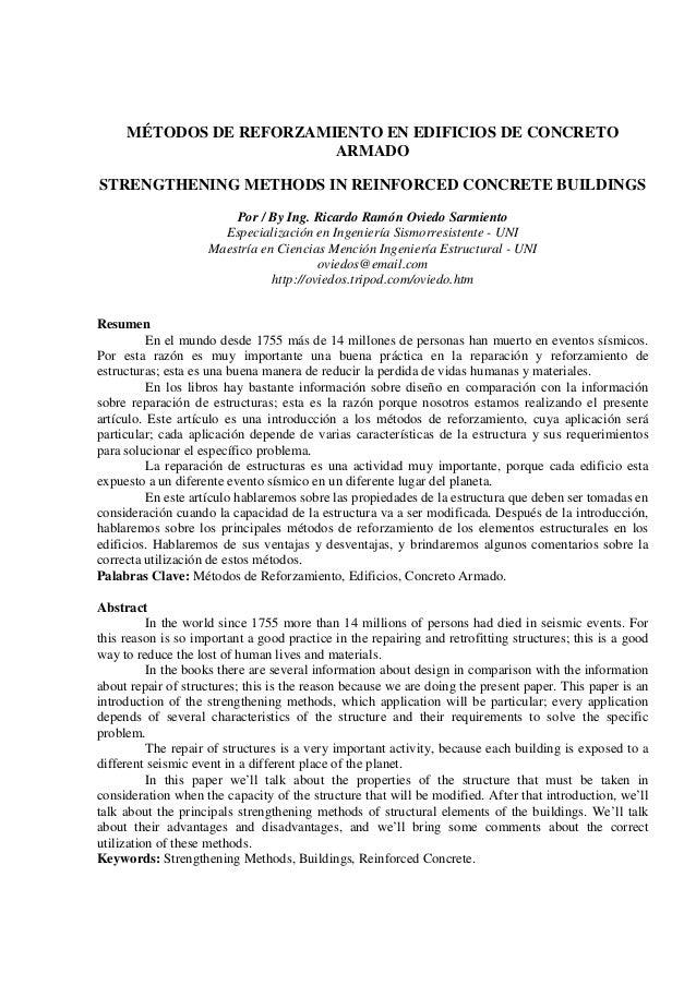 MÉTODOS DE REFORZAMIENTO EN EDIFICIOS DE CONCRETO                         ARMADOSTRENGTHENING METHODS IN REINFORCED CONCRE...