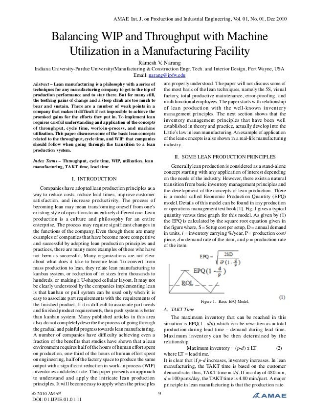Balancing WIP and Throughput with Machine Utilization in a Manufacturing Facility