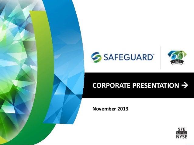 Safeguard Scientifics (NYSE:SFE) Corporate Presentation - November 2013