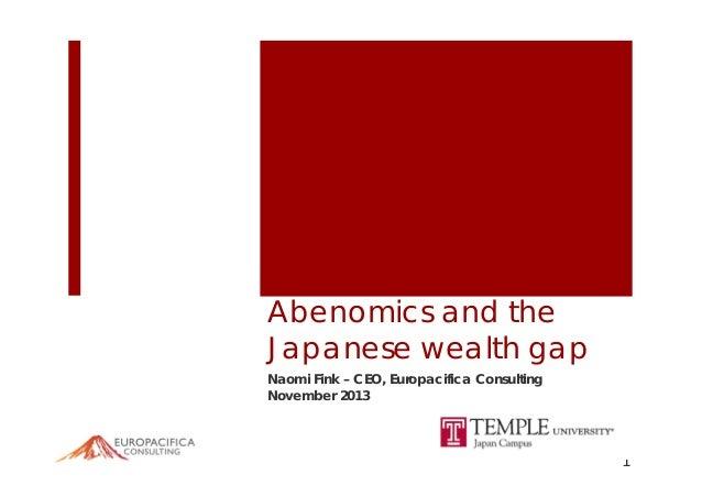 Public Lecture Presentation Slide (11.29.2013) Naomi Fink: Abenomics and the Japanese Wealth Gap