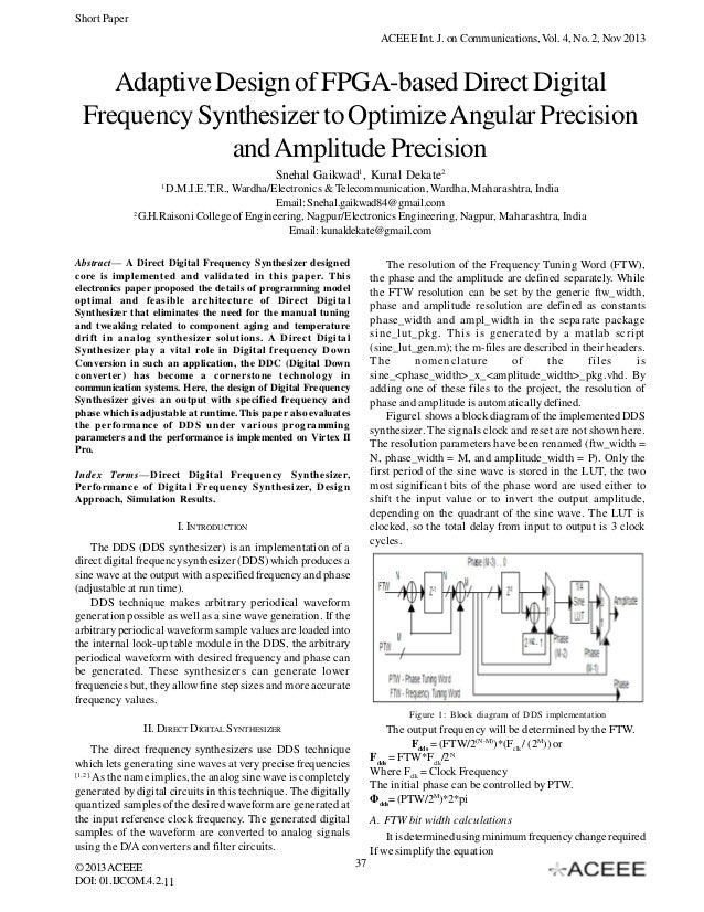 Short Paper ACEEE Int. J. on Communications, Vol. 4, No. 2, Nov 2013  Adaptive Design of FPGA-based Direct Digital Frequen...
