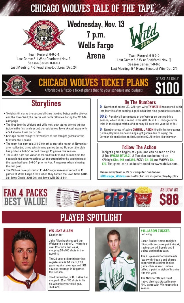 CHICAGO WOLVES TALE OF THE TAPE Wednesday, Nov. 13 7 p.m. Wells Fargo Team Record: 6-6-0-1 Team Arena Last Game: 5-2Record...