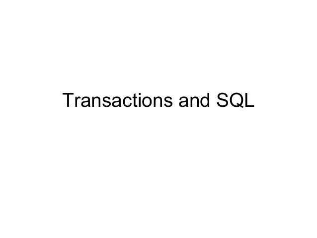 Transactions and SQL