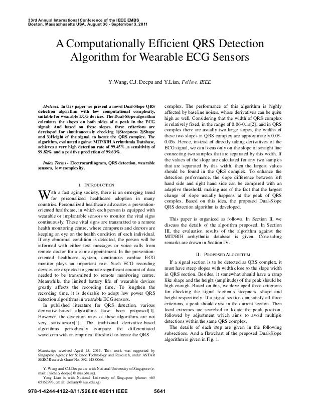 A Computationally Efficient QRS Detection  Algorithm for Wearable ECG Sensors