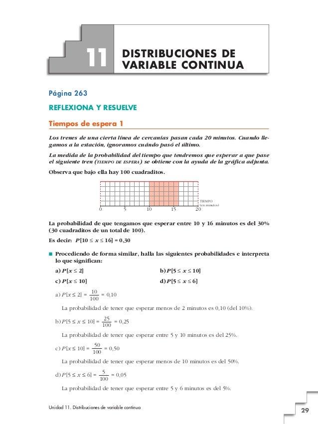 Unidad 11. Distribuciones de variable continua 29 Página 263 REFLEXIONA Y RESUELVE Tiempos de espera 1 Los trenes de una c...