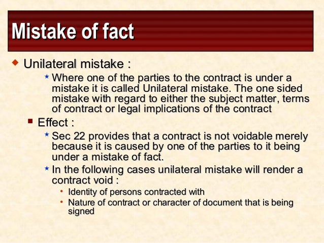 law of unilateral mistake