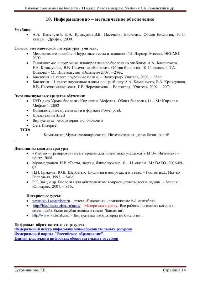 Тест по биологии а.каменский 11 класса