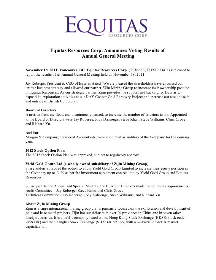 Equitas Resources Corp. Announces Voting Results of Annual General Meeting