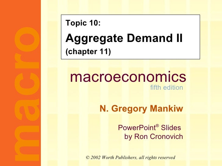 Topic 10: Aggregate Demand II (chapter 11)