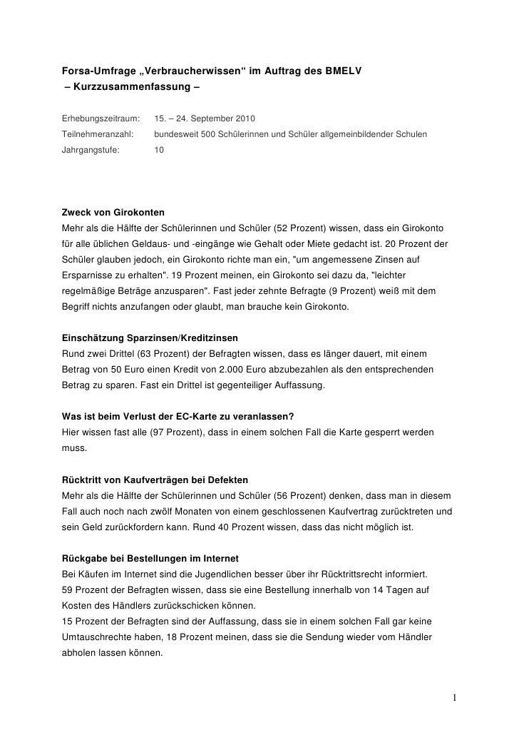 """Forsa-Umfrage """"Verbraucherwissen"""" im Auftrag des BMELV– Kurzzusammenfassung –Erhebungszeitraum:    15. – 24. September 201..."""