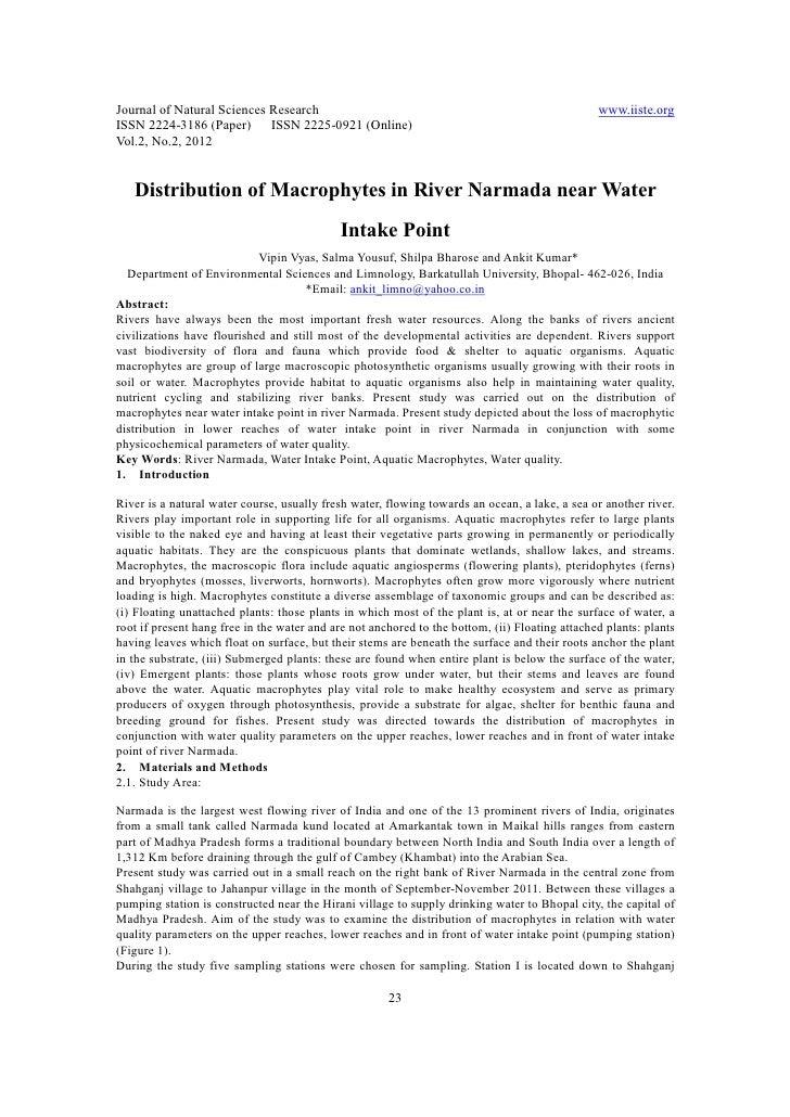 11.[23 28]distribution of macrophytes in river narmada near water intake point