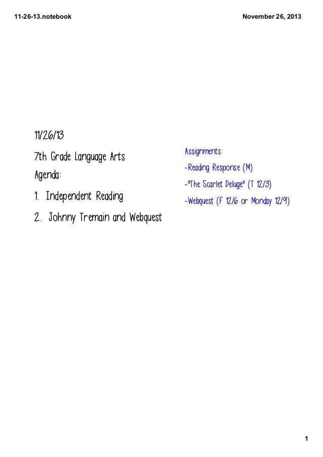 112613.notebook  November26,2013  11/26/13 7th Grade Language Arts Agenda:  1. Independent Reading  Assignments: -Read...