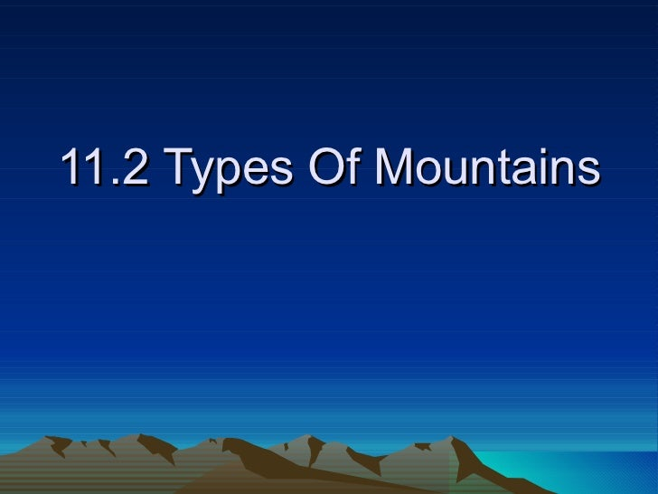 11.2 Types Of Mountains