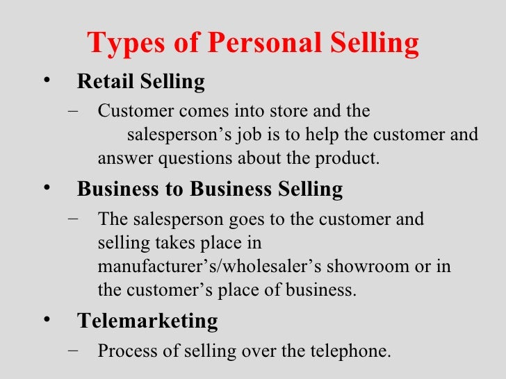 Business Personality Types Types of Personal Selling