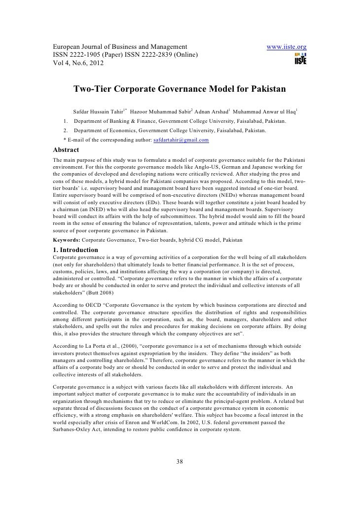 two tier corporate governance model for Appropriate corporate governance model, as well as corporate governance   regarding the board of directors as internal control mechanism, two-tier board is .