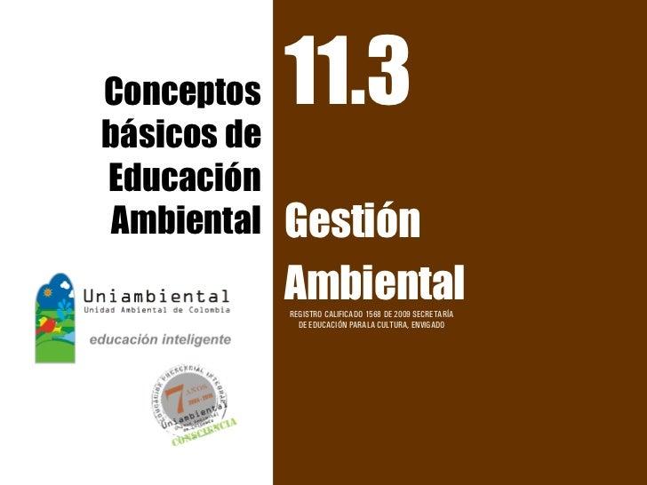 Conceptos    11.3básicos deEducación Ambiental   Gestión             Ambiental             REGISTRO CALIFICADO 1568 DE 200...