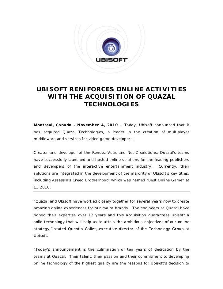 Ubisoft Reinforces Online Activity with Acquisition of Quazal Technologies