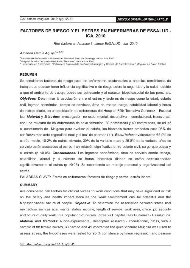 FACTORES DE RIESGO Y EL ESTRÉS EN ENFERMERAS DE ESSALUD - ICA, 2010 Risk factors and nurses in stress EsSALUD - Ica, 2010 ...