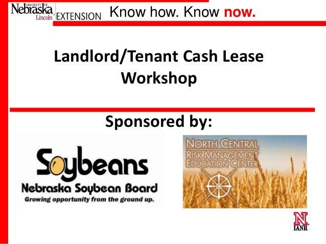 Landlord - Tenant Cash Lease Workshop
