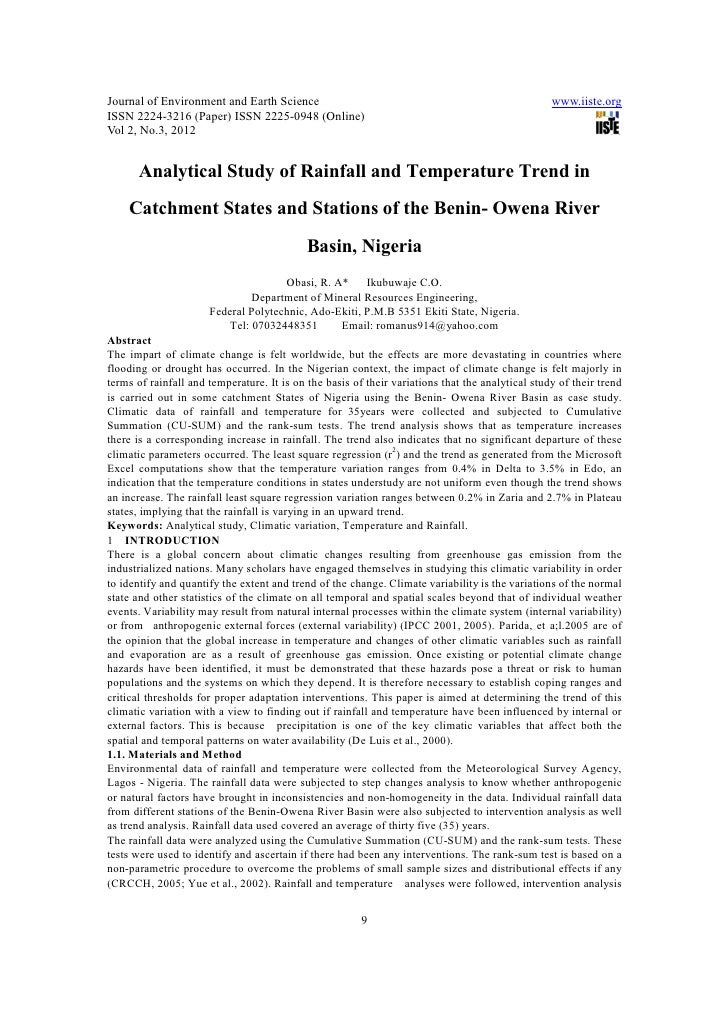 Journal of Environment and Earth Science                                                          www.iiste.orgISSN 2224-3...