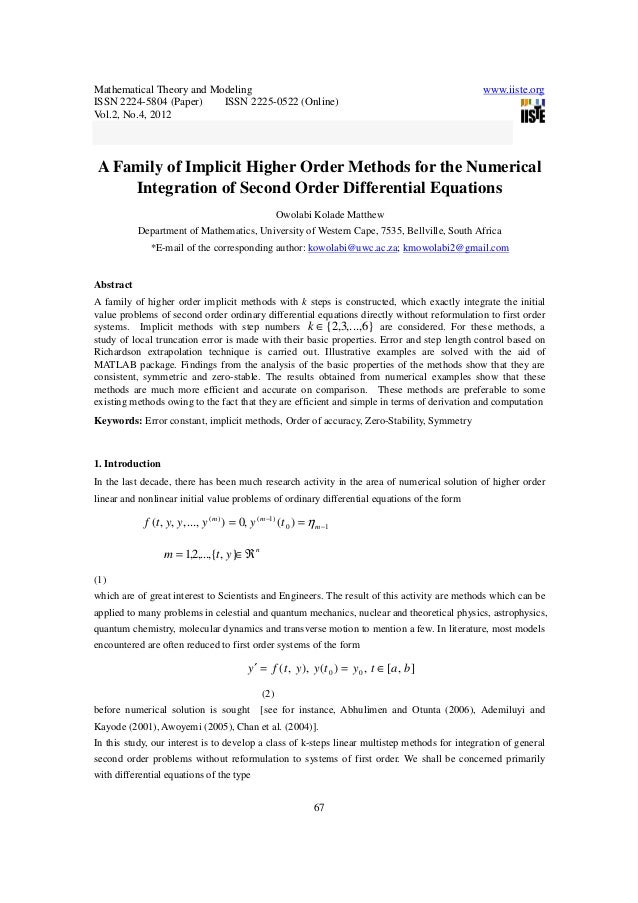 Mathematical Theory and Modeling www.iiste.org ISSN 2224-5804 (Paper) ISSN 2225-0522 (Online) Vol.2, No.4, 2012 67 A Famil...