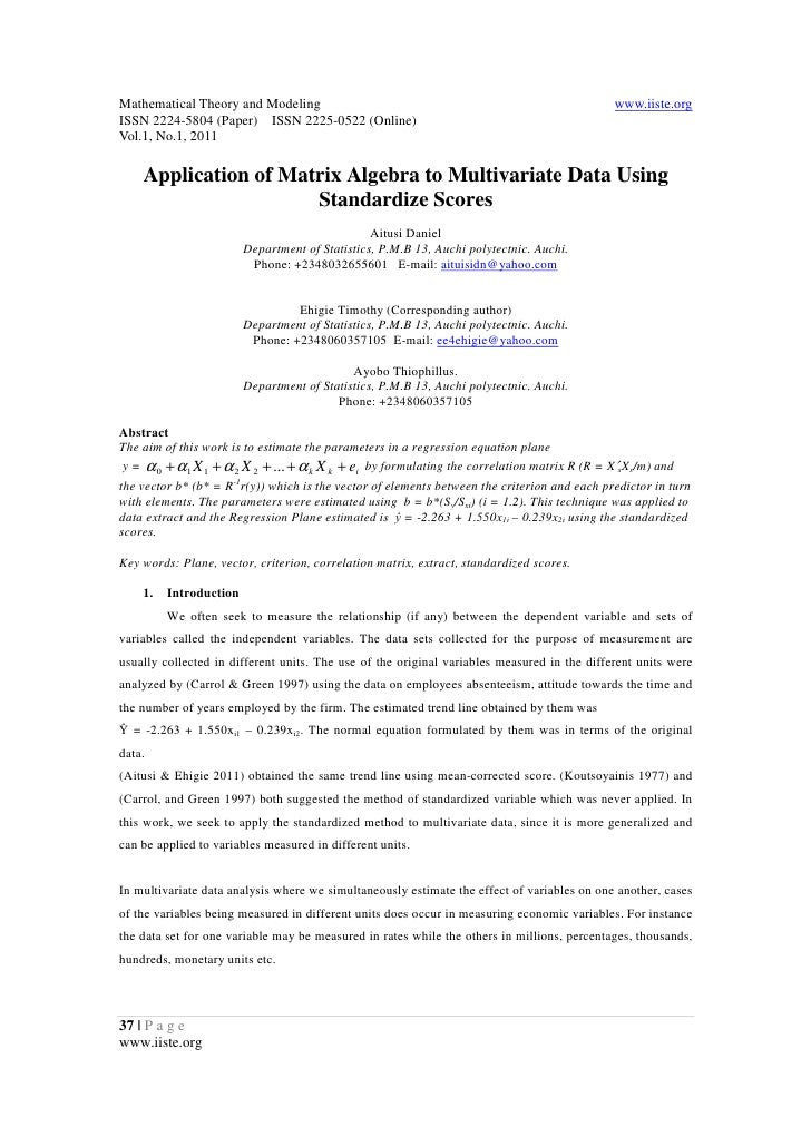 11.application of matrix algebra to multivariate data using standardize scores