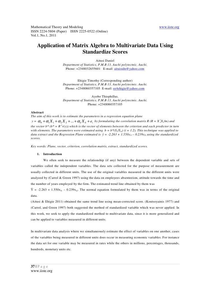 11.application of matrix algebra to multivariate data using standardize scores