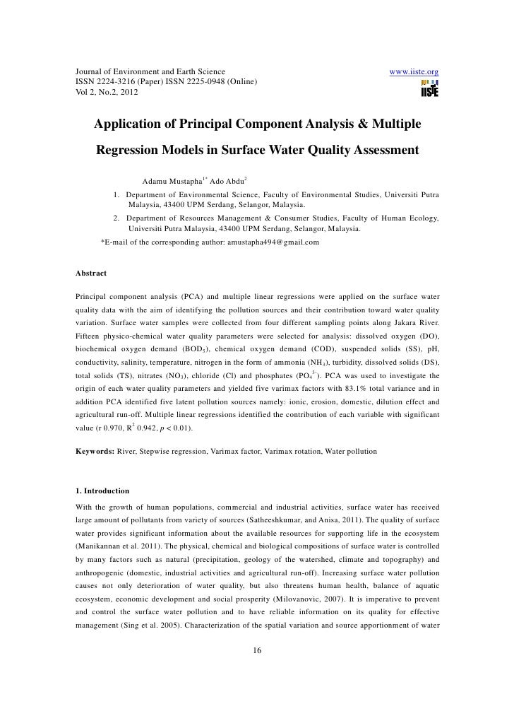 11.application of principal component analysis & multiple regression models in surface water quality assessment
