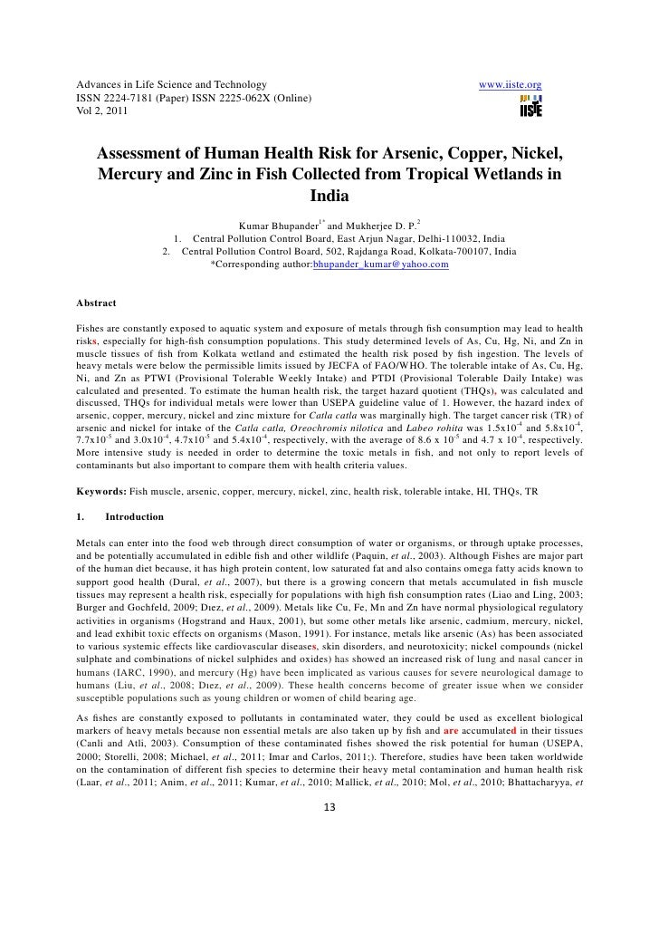 11.assessment of human health risk for arsenic, copper, nickel, mercury and zinc in fish collected from tropical wetlands in india