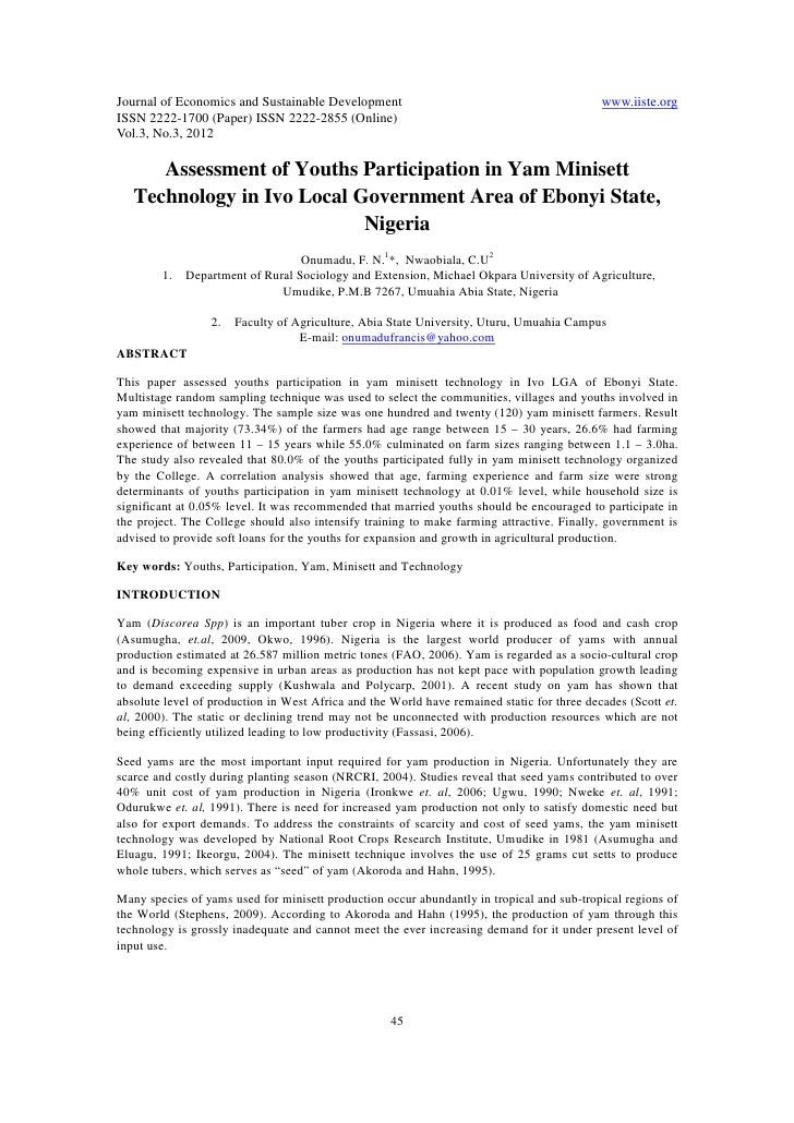 Journal of Economics and Sustainable Development                                            www.iiste.orgISSN 2222-1700 (P...