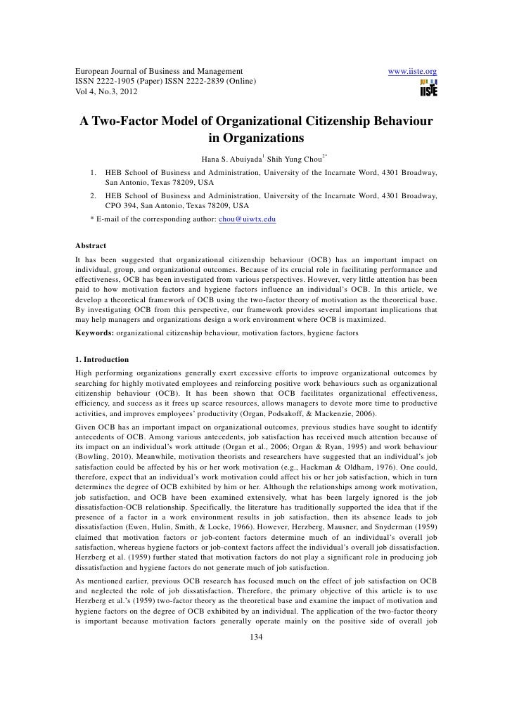 11.a two factor model of organizational citizenship behaviour in organizations