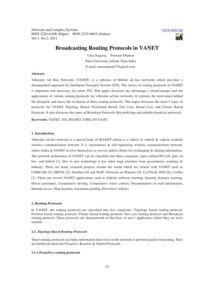 11.broadcasting routing protocols in vanet