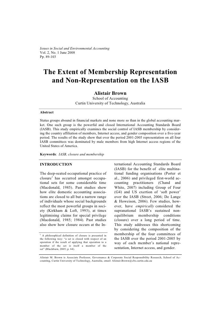Issues in Social and Environmental AccountingVol. 2, No. 1 June 2008Pp. 89-103  The Extent of Membership Representation   ...