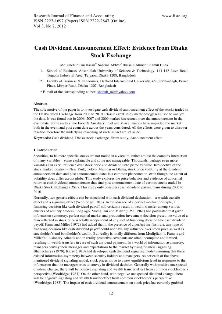 11.cash dividend announcement effect evidence from dhaka stock exchange