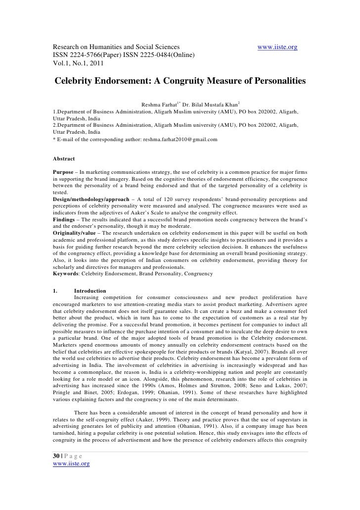 11.celebrity endorsement a congruity measure of personalities