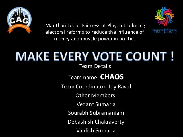 Manthan Topic: Fairness at Play: Introducing electoral reforms to reduce the influence of money and muscle power in politi...